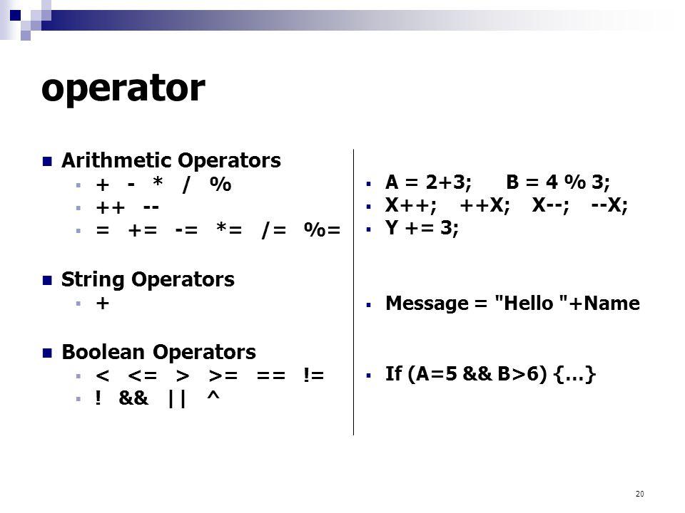 operator Arithmetic Operators String Operators Boolean Operators