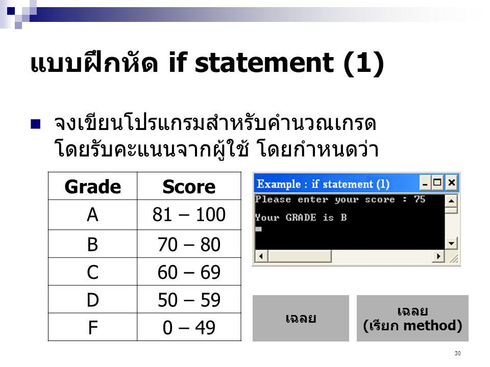 แบบฝึกหัด if statement (1)
