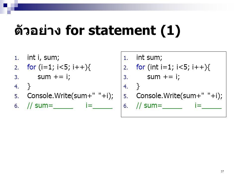 ตัวอย่าง for statement (1)