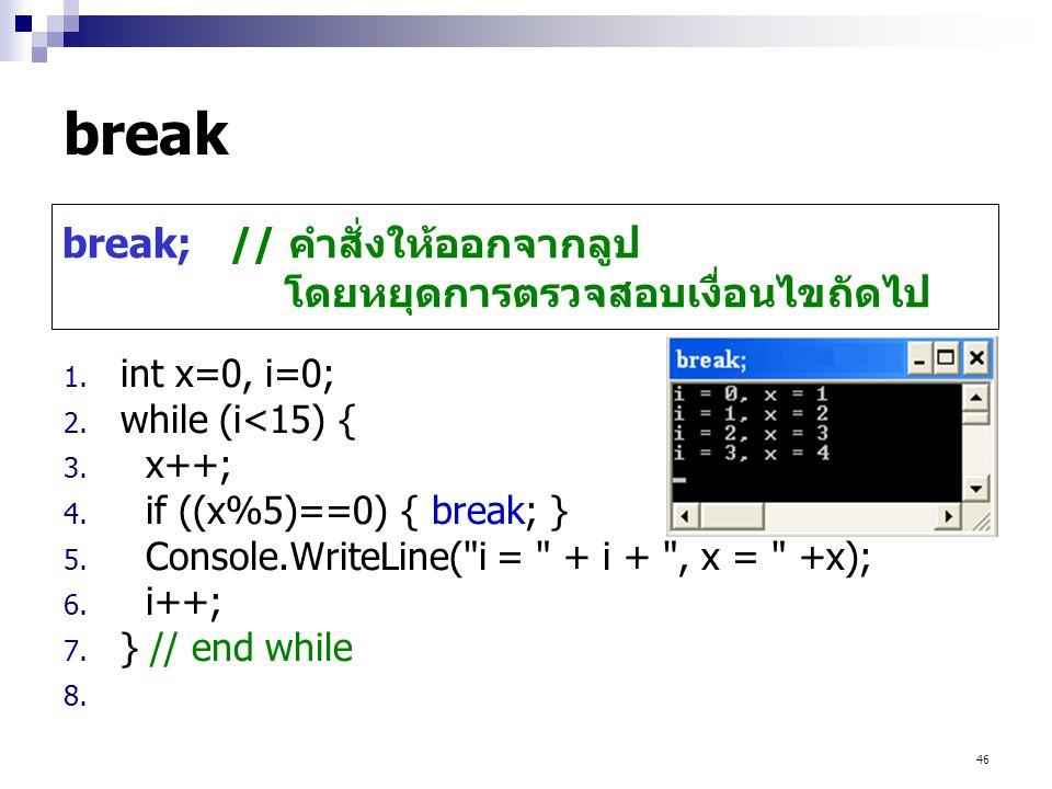 break break; // คำสั่งให้ออกจากลูป โดยหยุดการตรวจสอบเงื่อนไขถัดไป