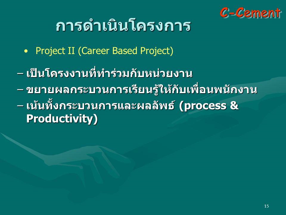 การดำเนินโครงการ C-Cement เป็นโครงงานที่ทำร่วมกับหน่วยงาน