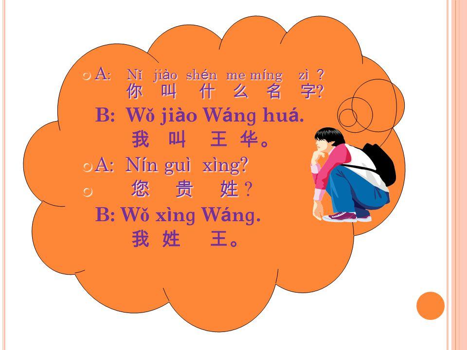 B: Wǒ jiào Wánɡ huá. 我 叫 王 华。 A: Nín guì xìng 您 贵 姓