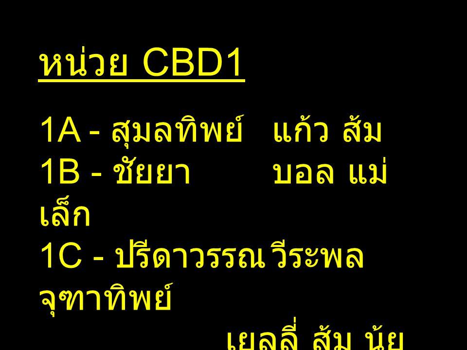 หน่วย CBD1 1A - สุมลทิพย์ แก้ว ส้ม 1B - ชัยยา บอล แม่เล็ก