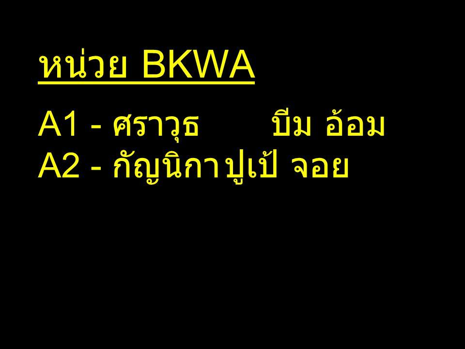 หน่วย BKWA A1 - ศราวุธ บีม อ้อม A2 - กัญนิกา ปูเป้ จอย