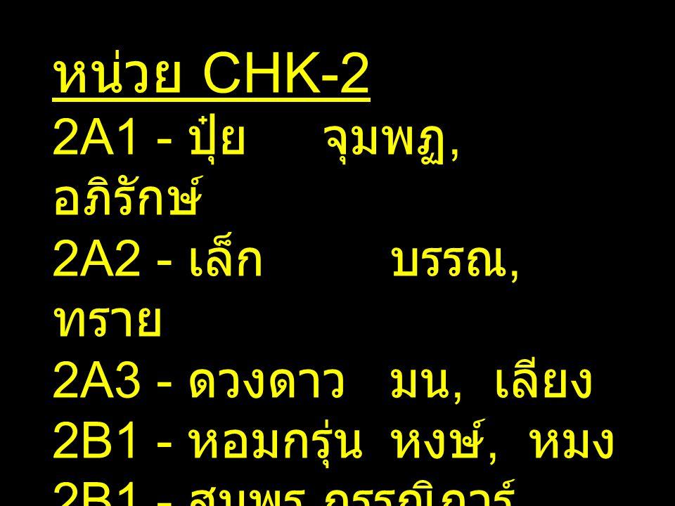 หน่วย CHK-2 2A1 - ปุ๋ย จุมพฏ, อภิรักษ์ 2A2 - เล็ก บรรณ, ทราย