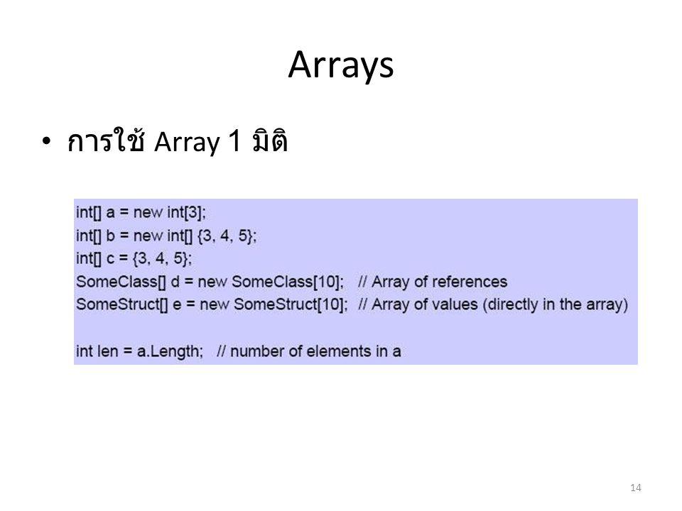 Arrays การใช้ Array 1 มิติ