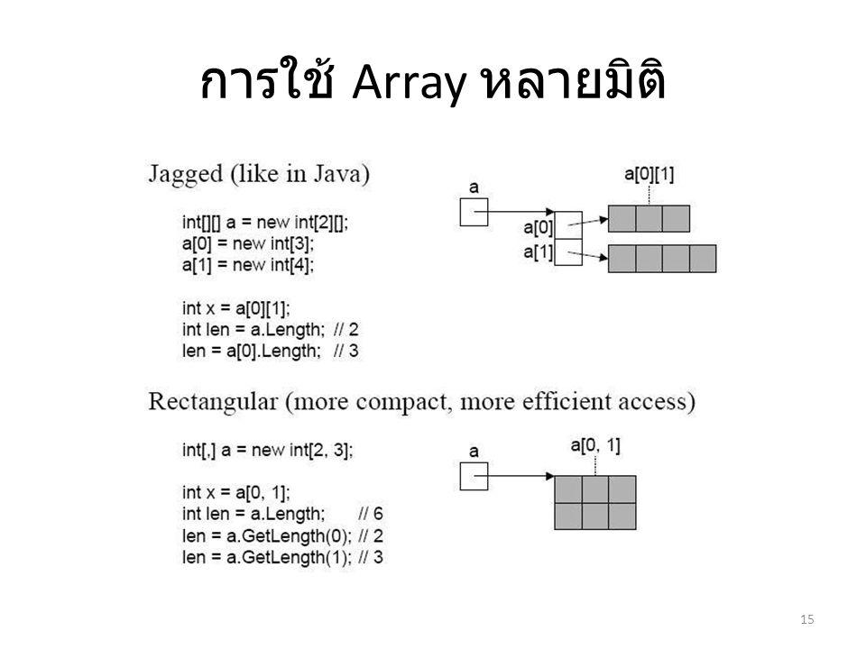 การใช้ Array หลายมิติ