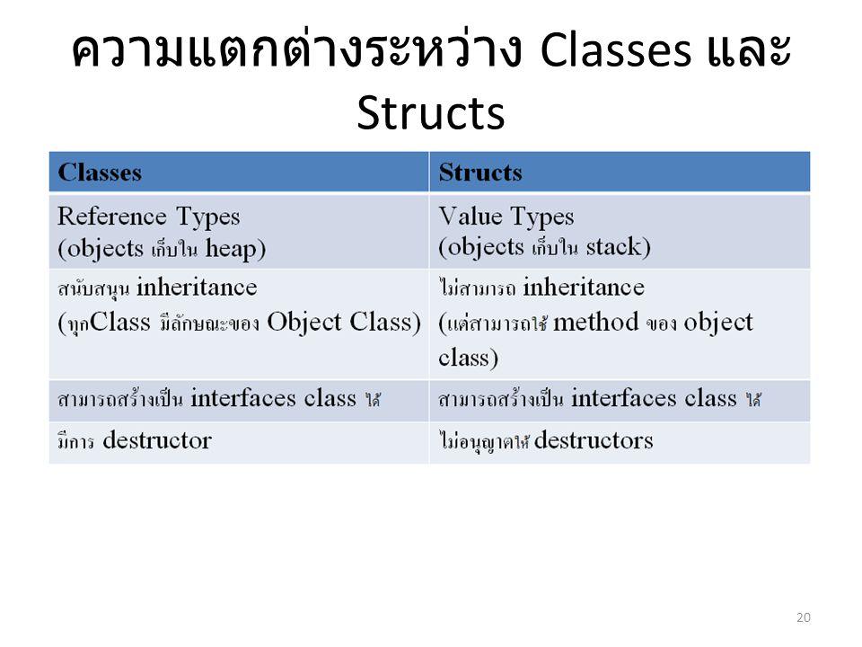 ความแตกต่างระหว่าง Classes และ Structs