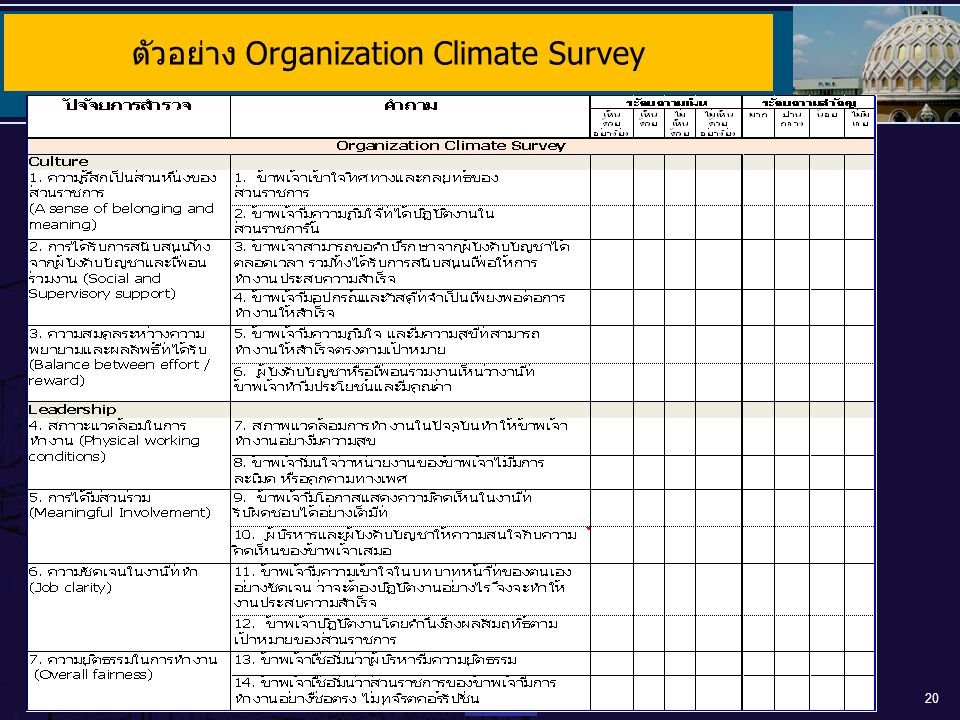 ตัวอย่าง Organization Climate Survey