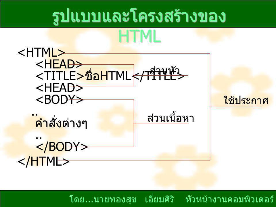รูปแบบและโครงสร้างของ HTML