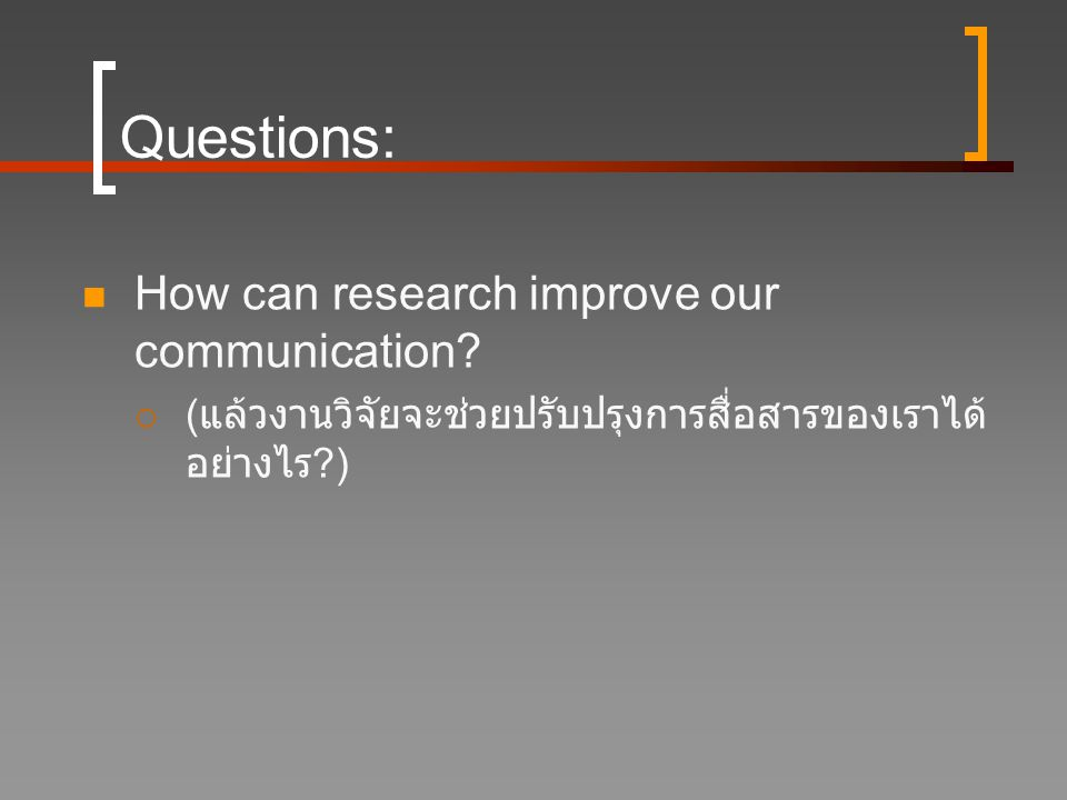 Questions: How can research improve our communication