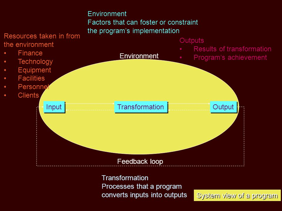 Environment Factors that can foster or constraint. the program's implementation. Resources taken in from.