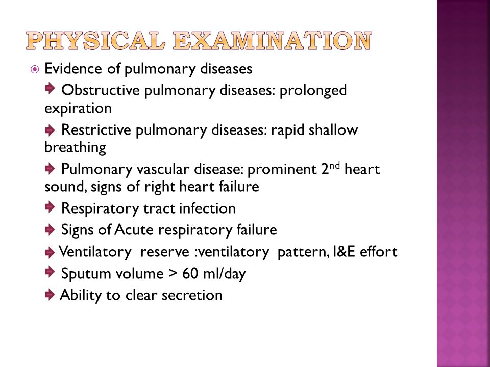 Physical examination Evidence of pulmonary diseases