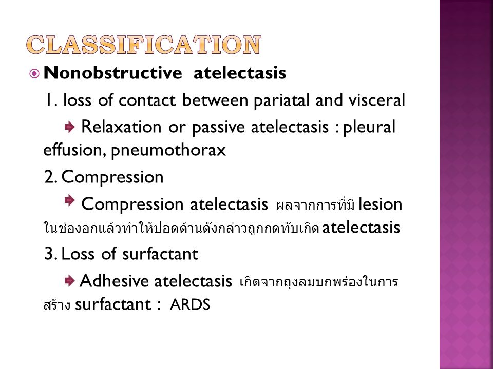 Classification Nonobstructive atelectasis
