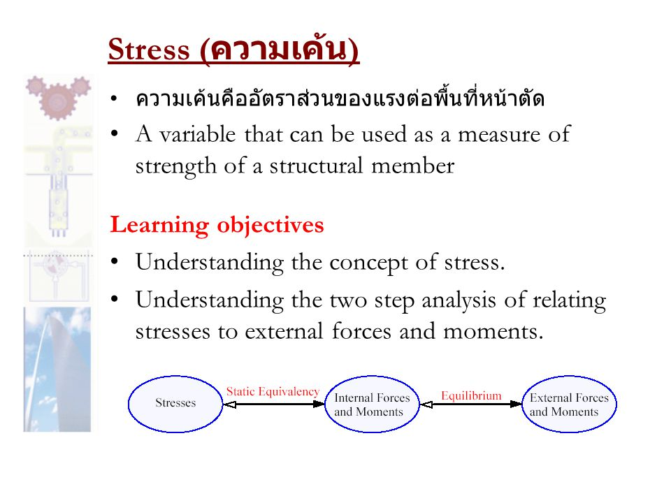 Stress (ความเค้น) ความเค้นคืออัตราส่วนของแรงต่อพื้นที่หน้าตัด. A variable that can be used as a measure of strength of a structural member.