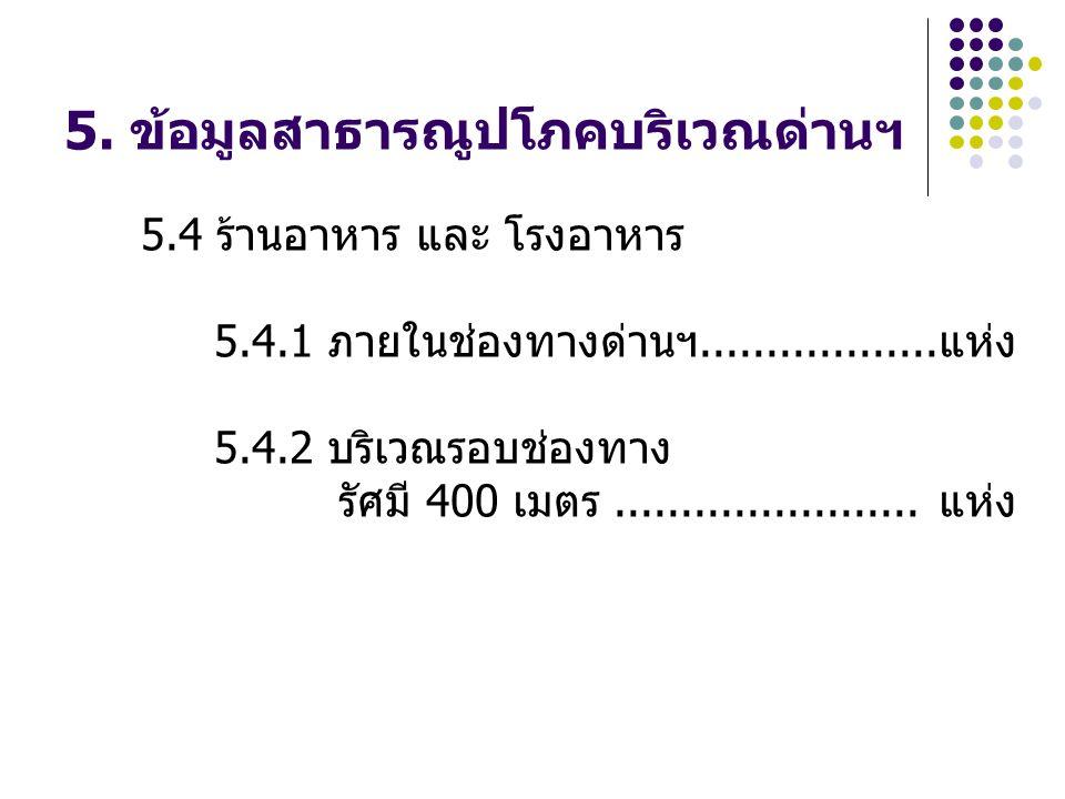 5. ข้อมูลสาธารณูปโภคบริเวณด่านฯ