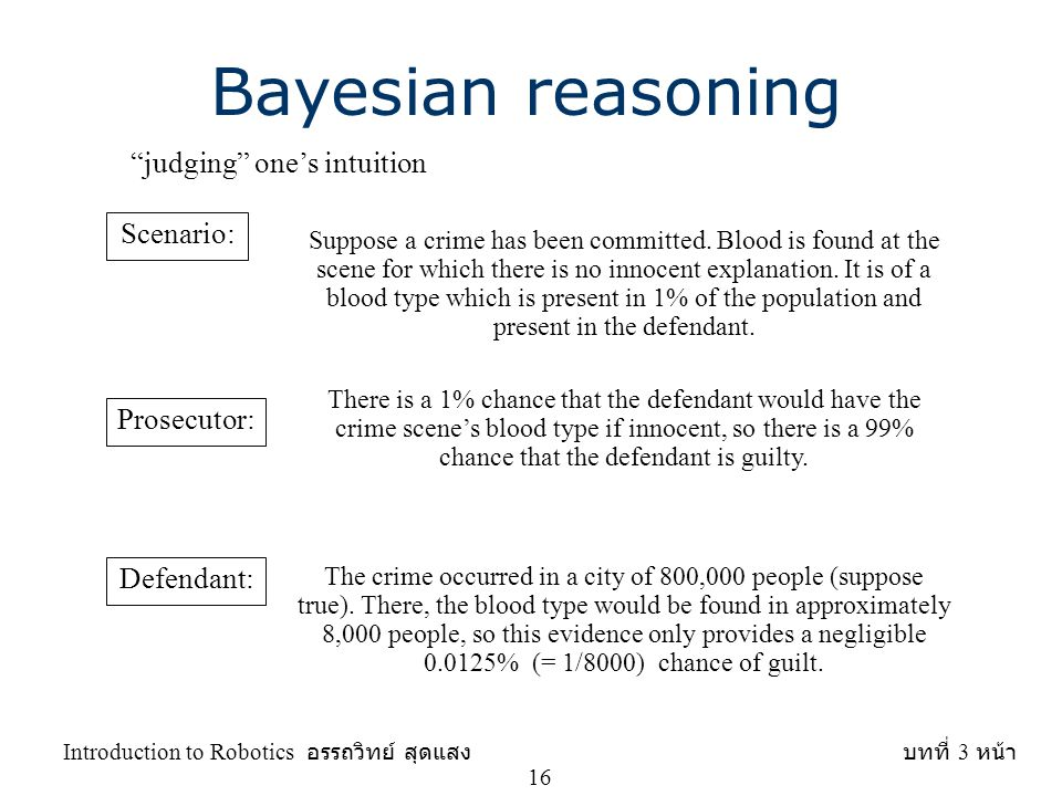 Bayesian reasoning judging one's intuition Scenario: Prosecutor: