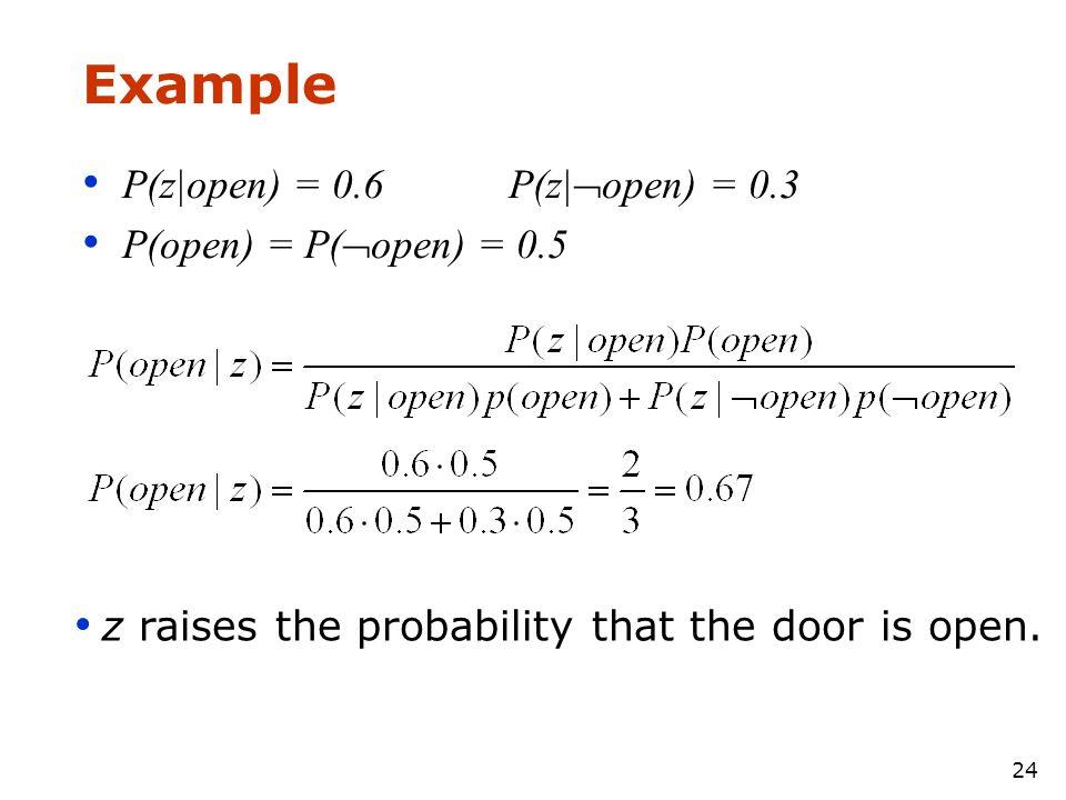Example P(z|open) = 0.6 P(z|open) = 0.3 P(open) = P(open) = 0.5