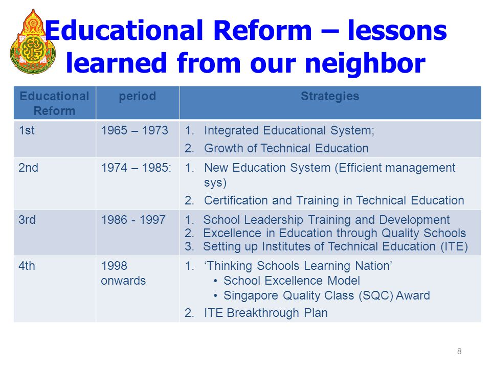 Educational Reform – lessons learned from our neighbor