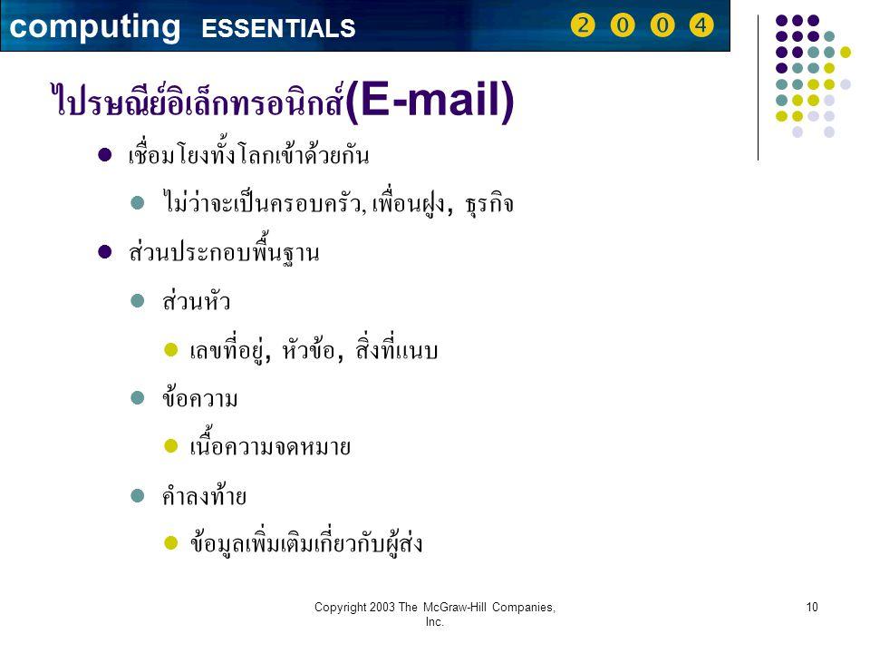 ไปรษณีย์อิเล็กทรอนิกส์(E-mail)