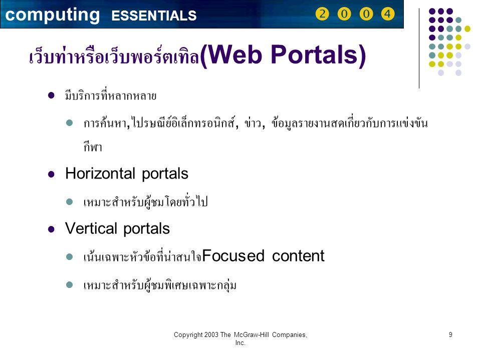 เว็บท่าหรือเว็บพอร์ตเทิล(Web Portals)