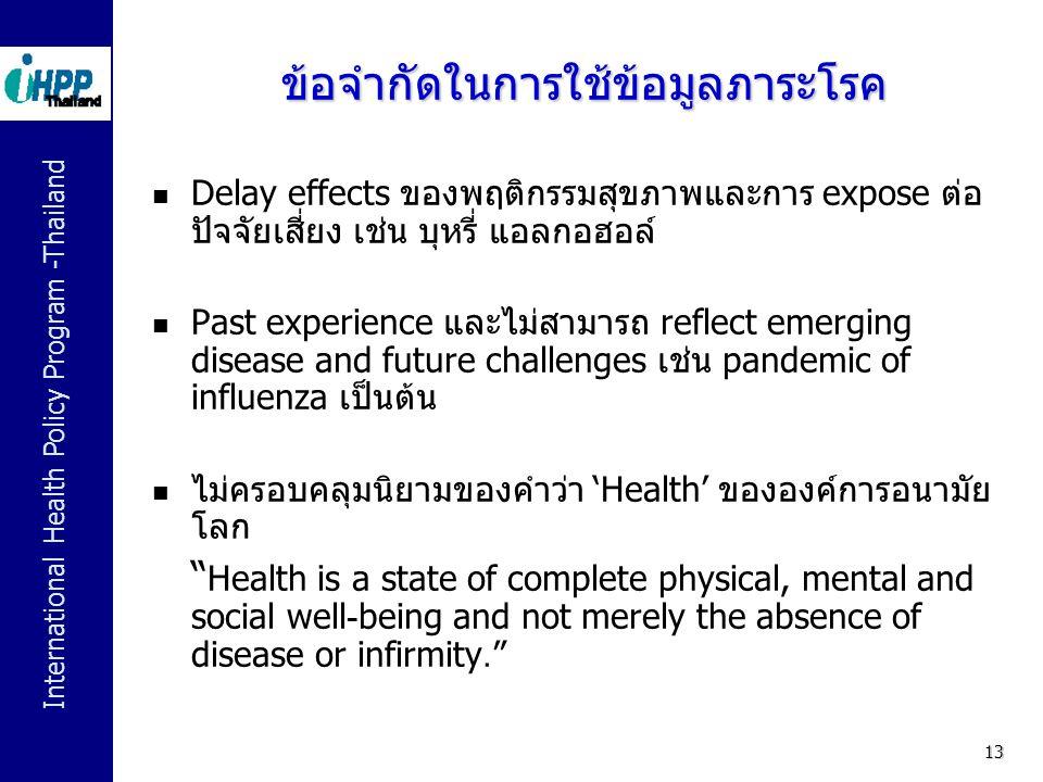 ข้อจำกัดในการใช้ข้อมูลภาระโรค