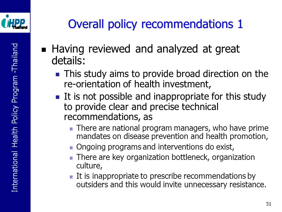 Overall policy recommendations 1