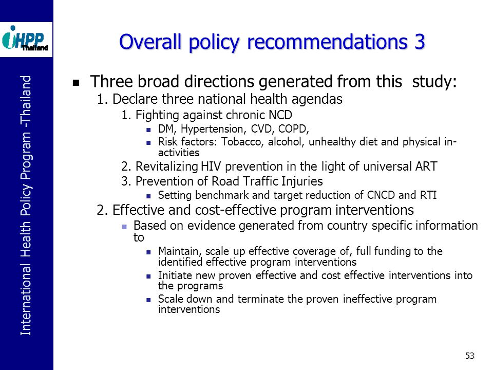 Overall policy recommendations 3