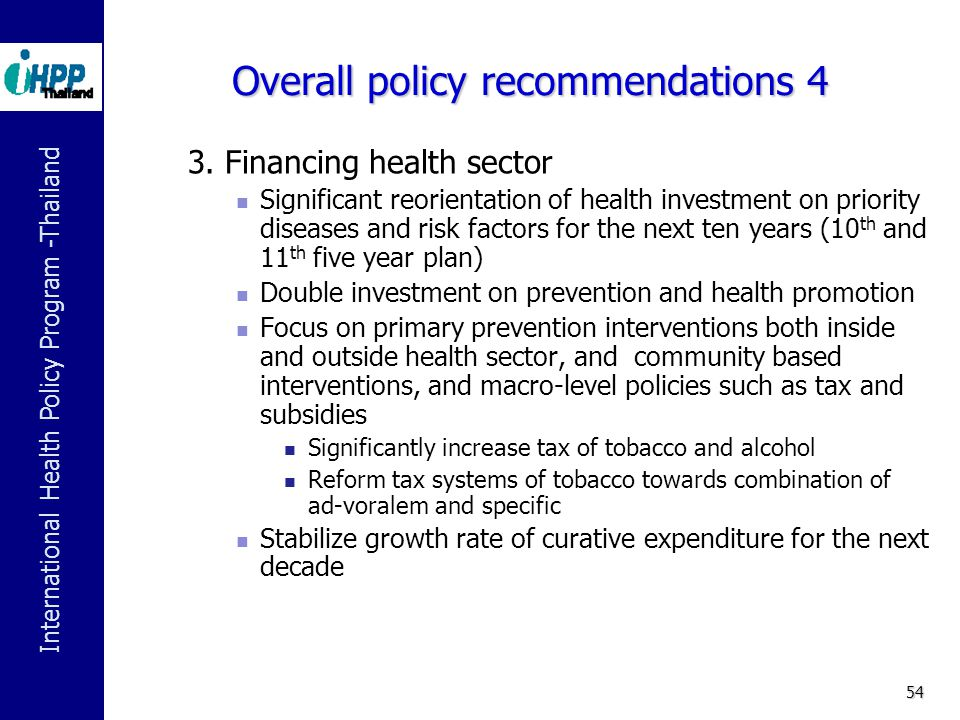 Overall policy recommendations 4