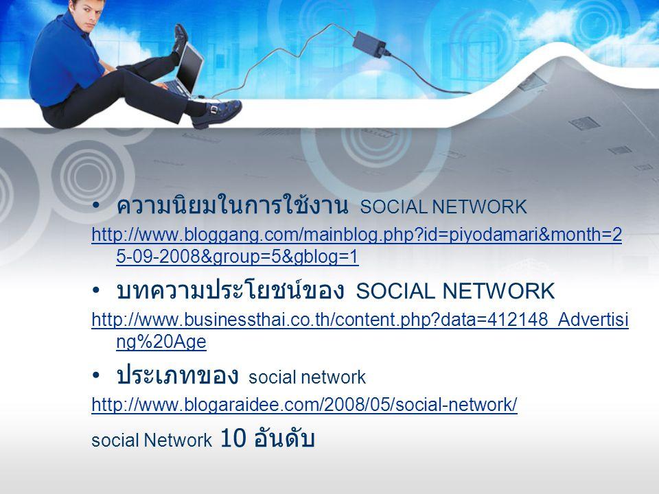 ความนิยมในการใช้งาน SOCIAL NETWORK