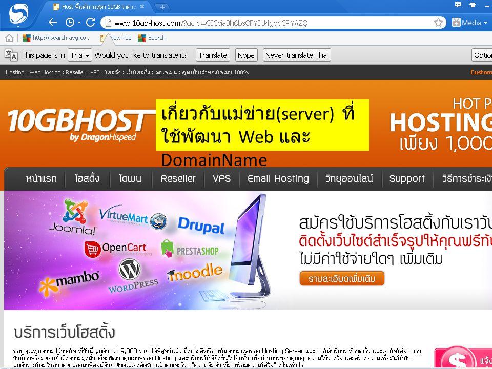 เกี่ยวกับแม่ข่าย(server) ที่ใช้พัฒนา Web และ DomainName