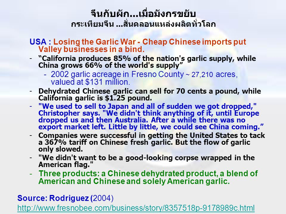 จีนกับผัก...เมื่อมังกรขยับ กระเทียมจีน ...สั่นคลอนแหล่งผลิตทั่วโลก