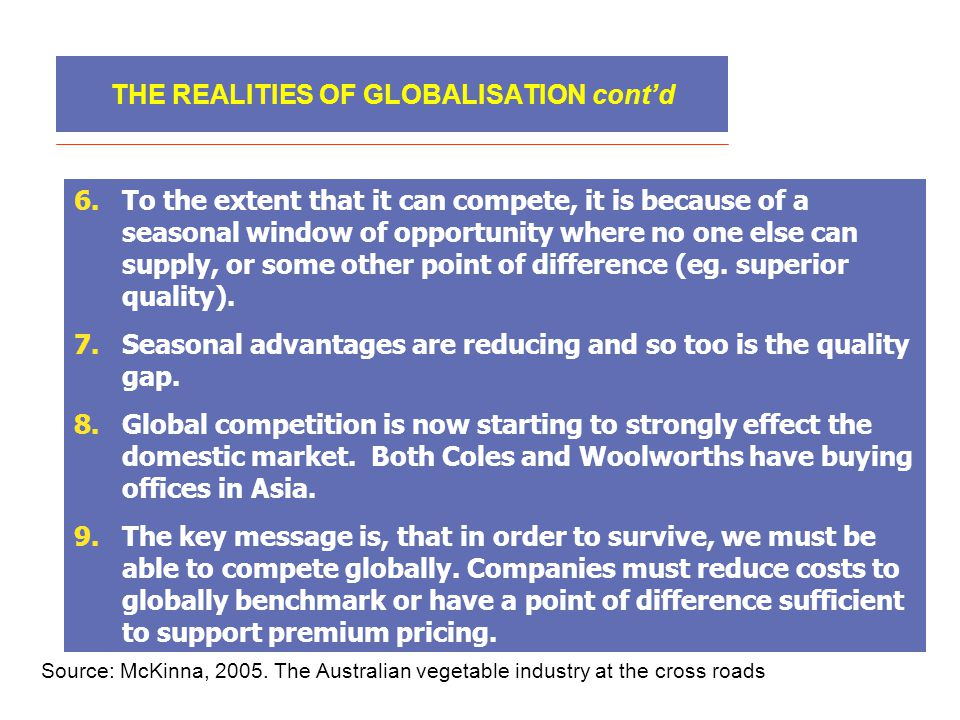 THE REALITIES OF GLOBALISATION cont'd