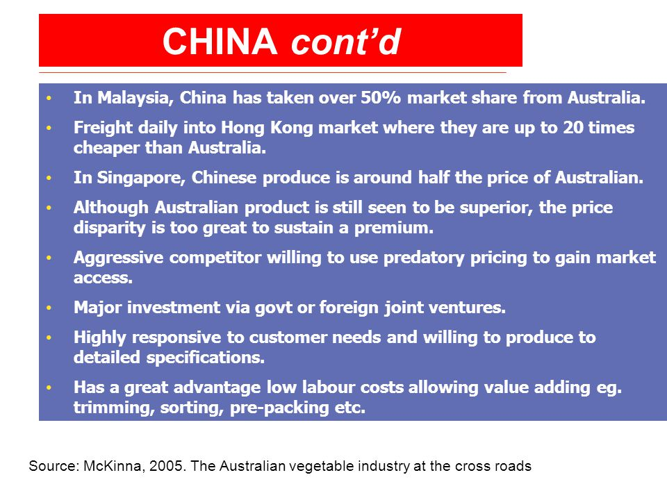 CHINA cont'd In Malaysia, China has taken over 50% market share from Australia.