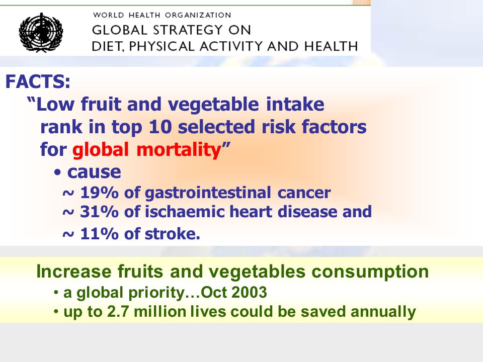 Low fruit and vegetable intake rank in top 10 selected risk factors