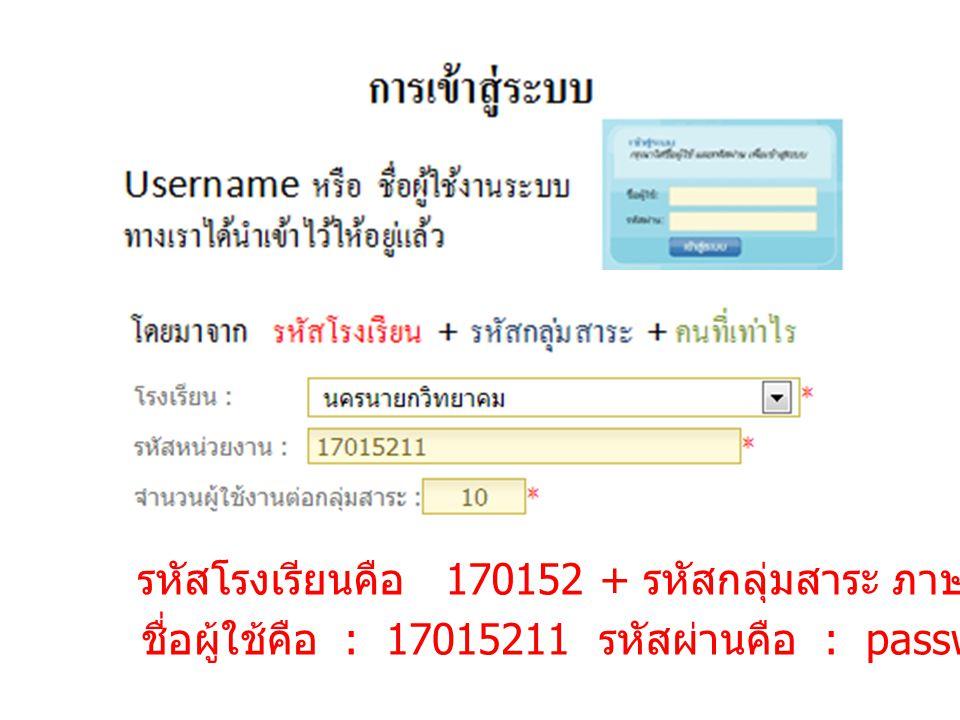รหัสโรงเรียนคือ 170152 + รหัสกลุ่มสาระ ภาษาไทย คือ 1 + คนที่ 1