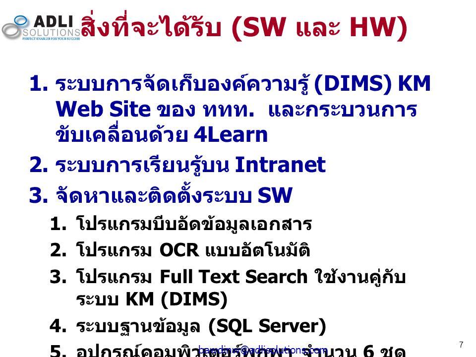 สิ่งที่จะได้รับ (SW และ HW)