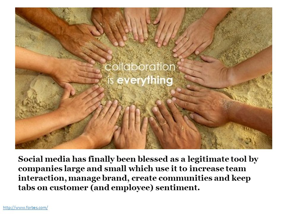 Social media has finally been blessed as a legitimate tool by companies large and small which use it to increase team interaction, manage brand, create communities and keep tabs on customer (and employee) sentiment.