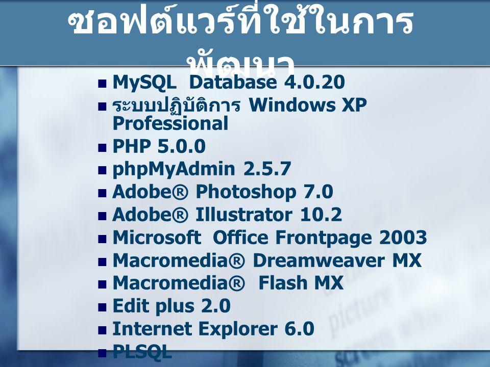 ซอฟต์แวร์ที่ใช้ในการพัฒนา