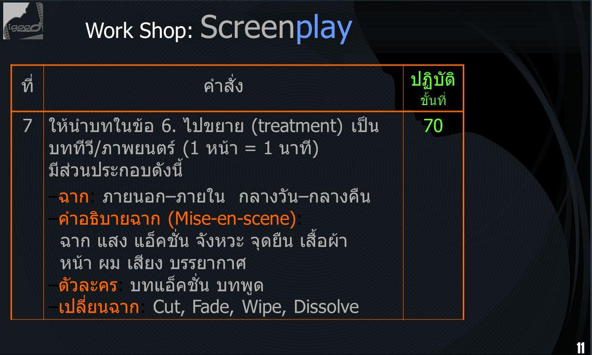 Work Shop: Screenplay ที่ คำสั่ง ปฏิบัติ ขั้นที่ 7