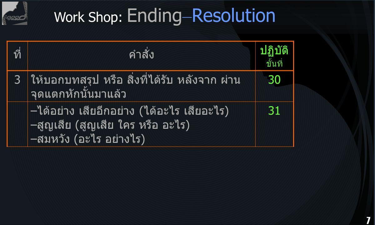 Work Shop: Ending–Resolution