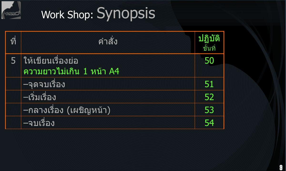 Work Shop: Synopsis ที่ คำสั่ง ปฏิบัติ ขั้นที่ 5