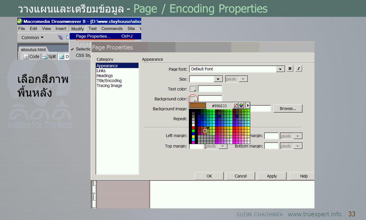 วางแผนและเตรียมข้อมูล - Page / Encoding Properties