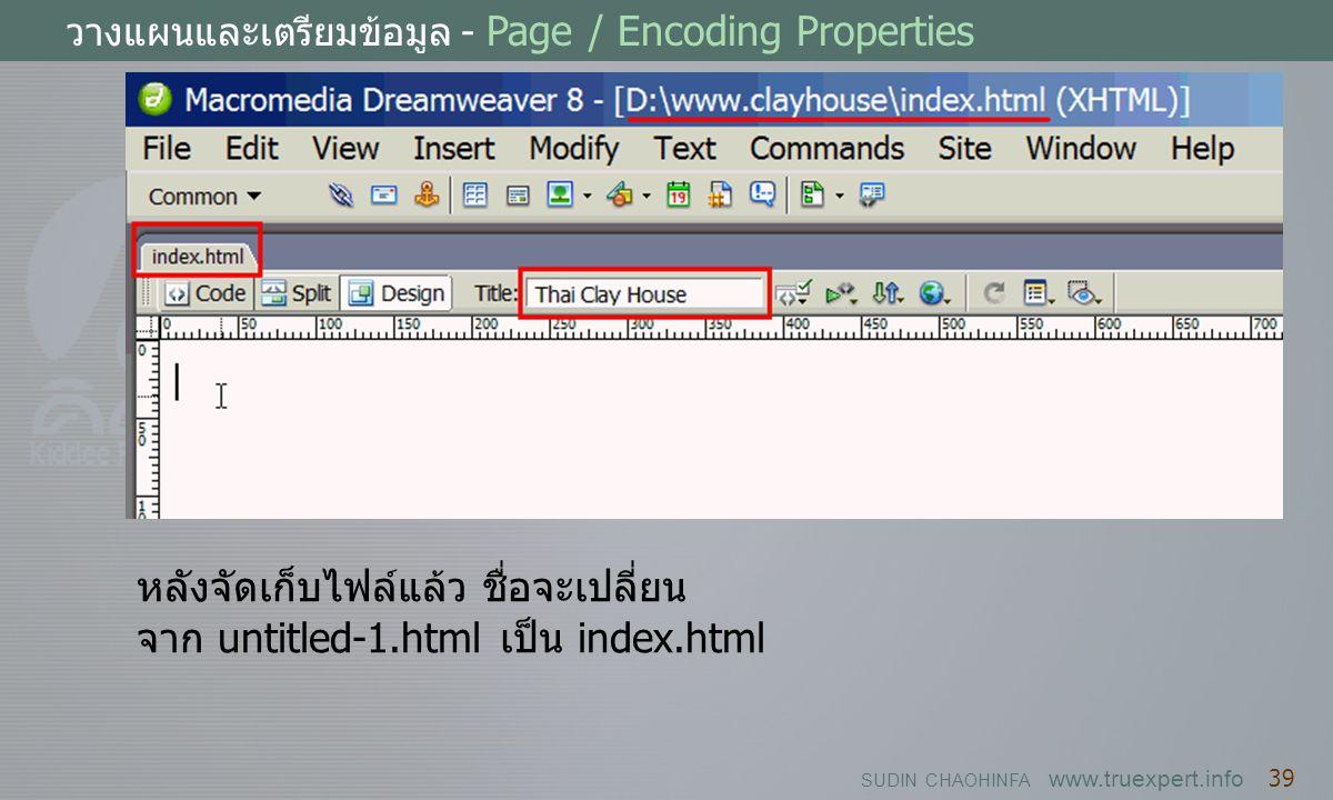 หลังจัดเก็บไฟล์แล้ว ชื่อจะเปลี่ยน จาก untitled-1.html เป็น index.html