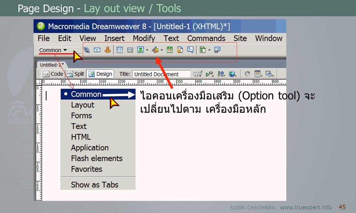 ไอคอนเครื่องมือเสริม (Option tool) จะเปลี่ยนไปตาม เครื่องมือหลัก