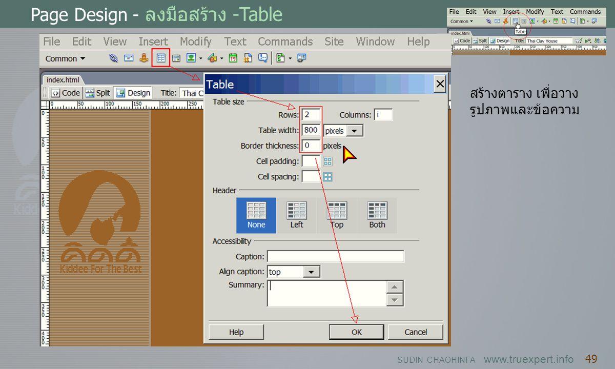 Page Design - ลงมือสร้าง -Table