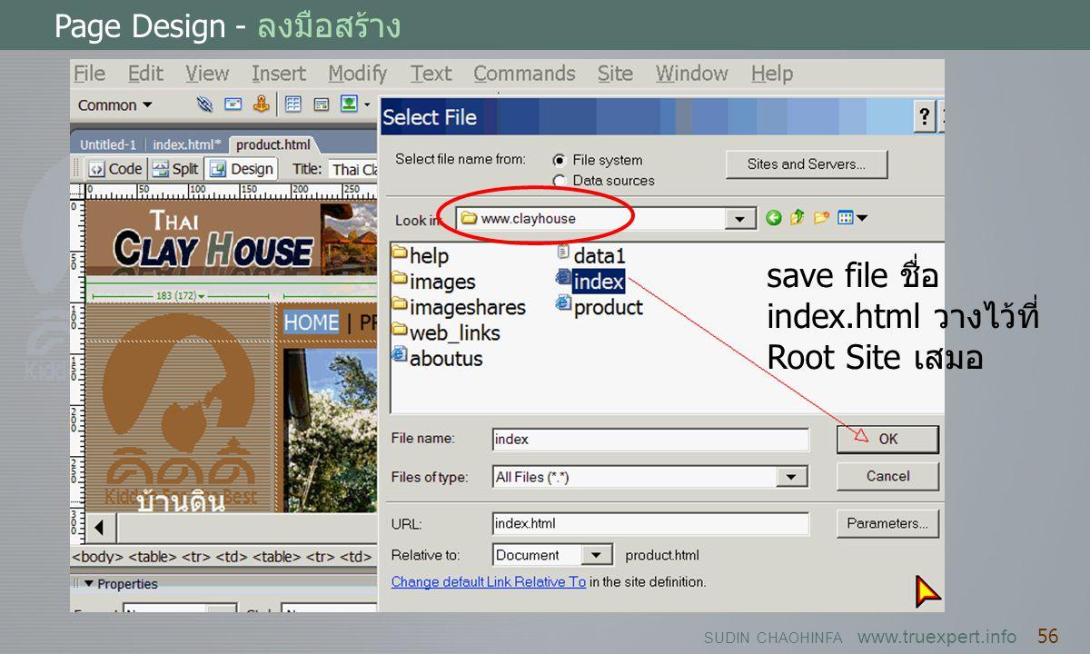 save file ชื่อ index.html วางไว้ที่ Root Site เสมอ