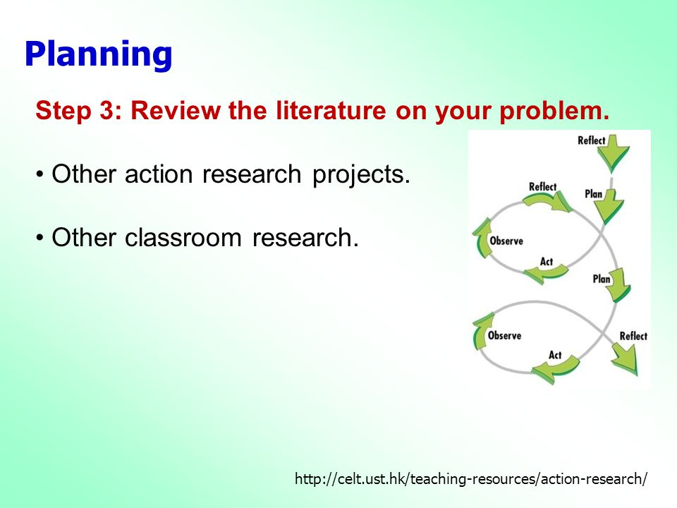 Planning Step 3: Review the literature on your problem.