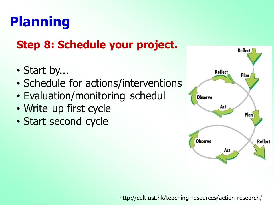 Planning Step 8: Schedule your project. Start by...