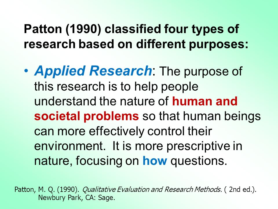 Patton (1990) classified four types of research based on different purposes: